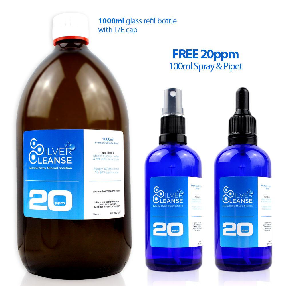 1000ml Colloidal Silver + FREE Full 100ml Spray + FREE Full 100ml Pipe