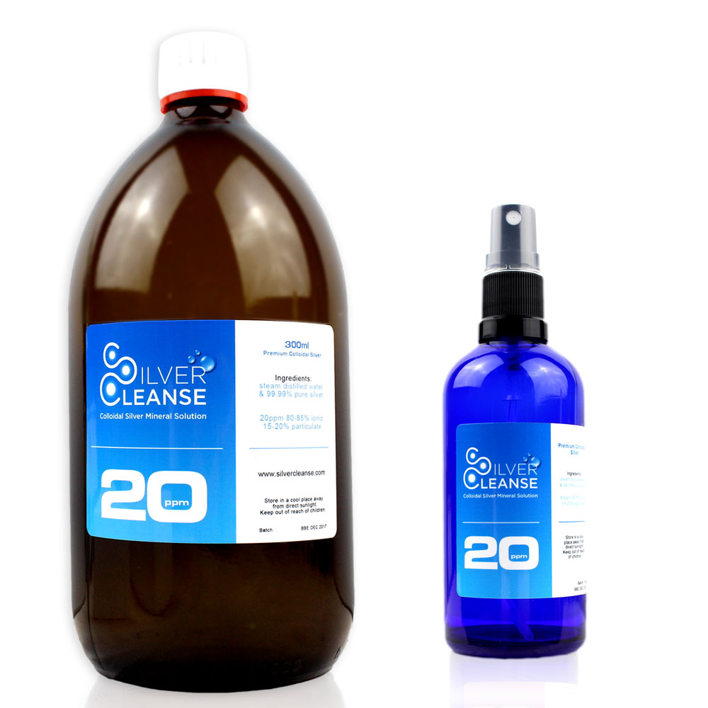 SilverCleanse 300ml Colloidal Silver (20 ppm) refill bottle + 30ml Spray - Ionic Immune Support!
