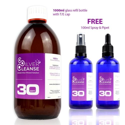 1000ml Colloidal Silver + Full 100ml Spray + Full 100ml Pipet (30 ppm) Ionic Immune Support!