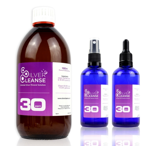 1000ml Organic Colloidal Silver + Full 100ml Spray + Full 100ml Pipet (30 ppm) Ionic Immune Support!