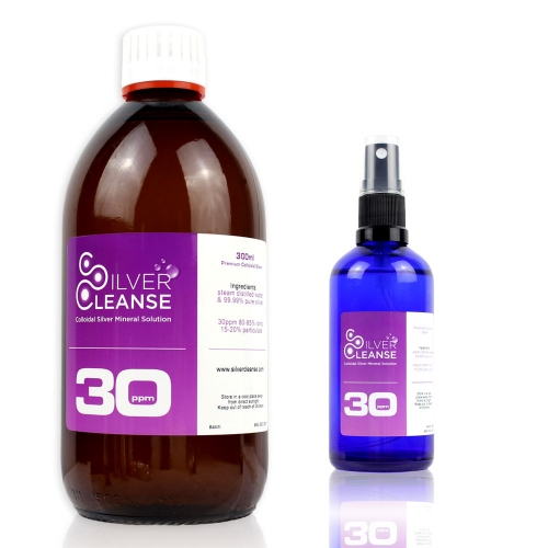 300ml Colloidal Silver (30 ppm) refill bottle + FREE 30ml Spray