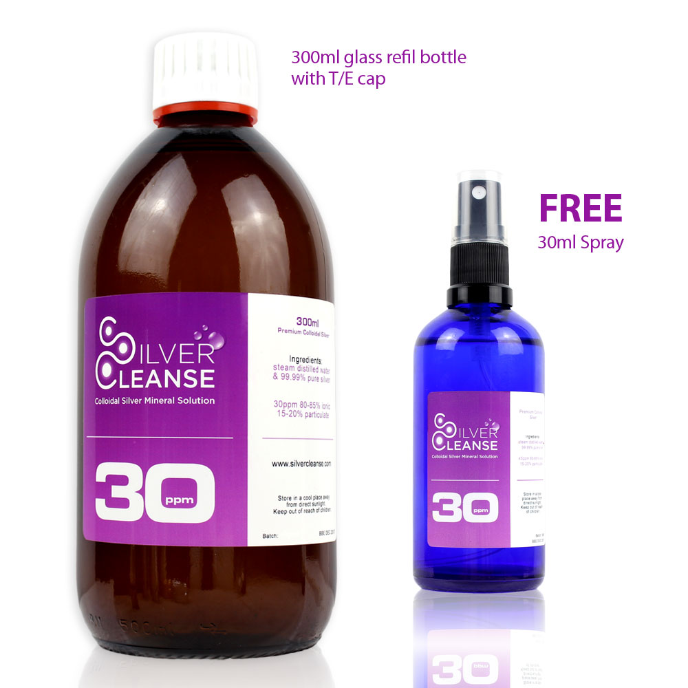 300ml Colloidal Silver Refill Bottle + Free 30ml Spray