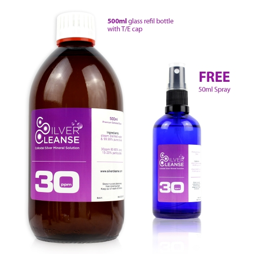500ml Colloidal Silver refill bottle + FREE 50ml Spray (30 ppm)