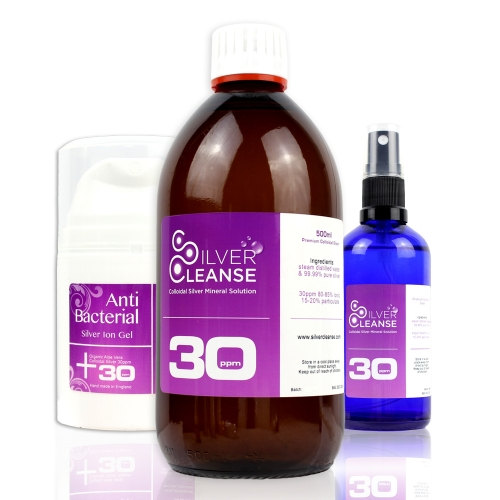 500ml Organic Colloidal Silver refill bottle + 50ml Spray + 50ml Anti Bacterial Healing Gel (30 ppm)
