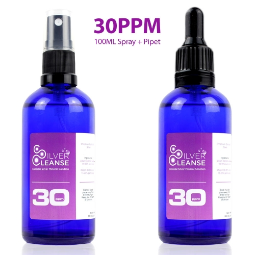 100ml Colloidal Silver Spray + Pipet Twin Pack (30ppm)