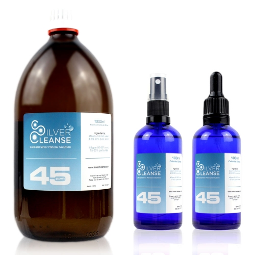 SilverCleanse™ 45ppm colloidal silver 1000ml Colloidal Silver refill bottle + FREE & full 100ml Spray & FREE & full 100ml Pipet