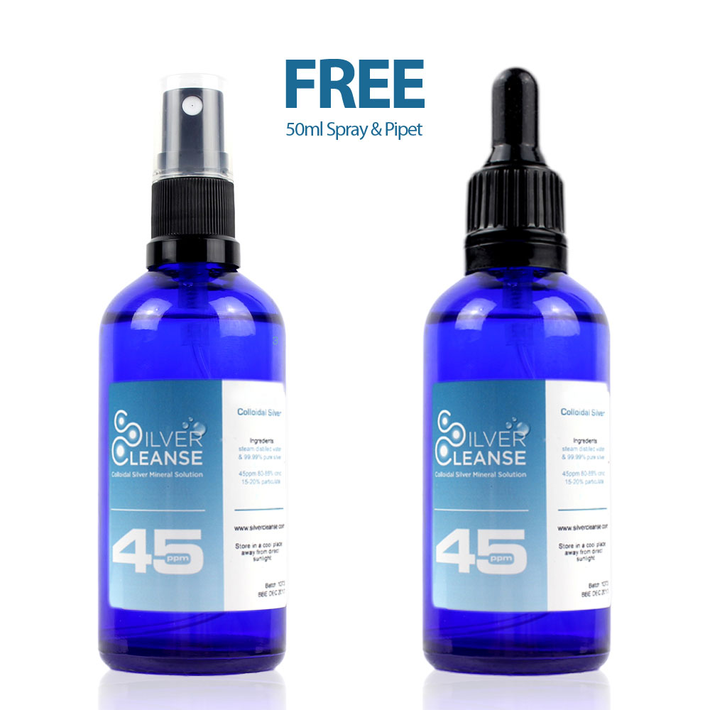 SilverCleanse™ 45ppm 500ml Colloidal Silver refill bottle + FREE & full 50ml Spray & FREE & full 50ml Pipet