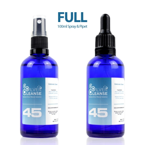 SilverCleanse™ 45ppm colloidal silver 100ml Colloidal Silver Spray & 100ml Colloidal Silver Pipet SilverCleanse Double Pack