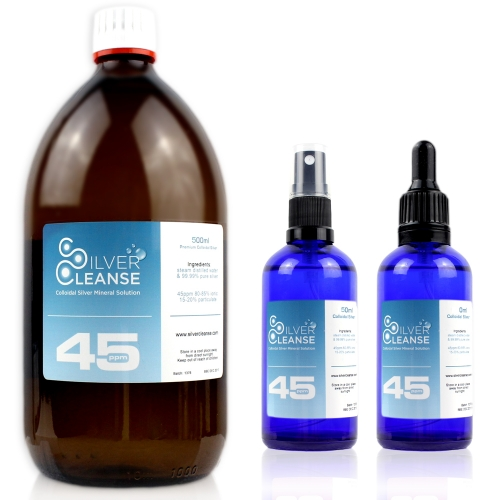 SilverCleanse™ 45ppm colloidal silver 500ml Colloidal Silver refill bottle + FREE & full 50ml Spray & FREE & full 50ml Pipet