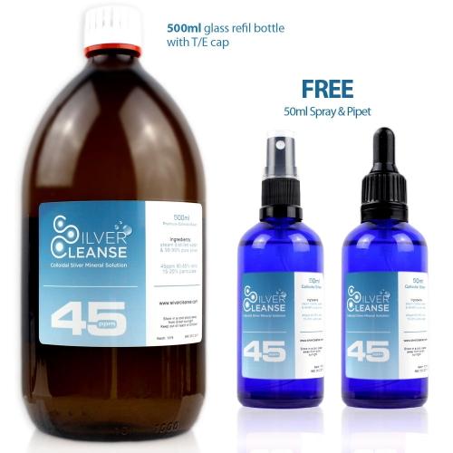 SilverCleanse™ 45ppm 500ml Colloidal Silver refill bottle + FREE & full 50ml Spray & FREE & full 50ml Pipet