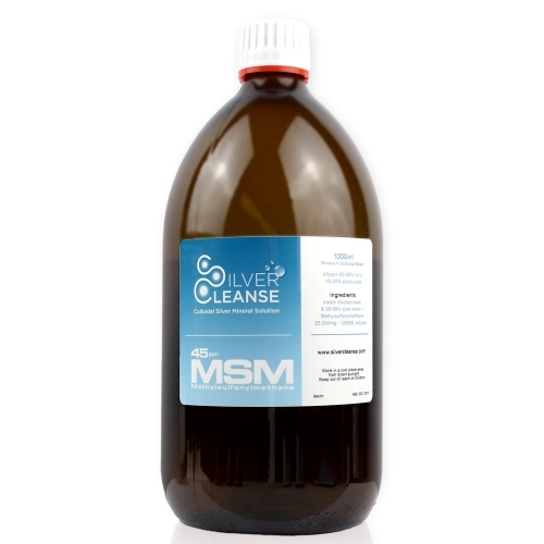 SilverCleanse 1000ml Colloidal Silver 45ppm + MSM 25,000mg
