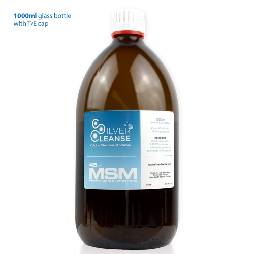SilverCleanse™ 1000ml Colloidal Silver 45ppm + MSM 25,000mg
