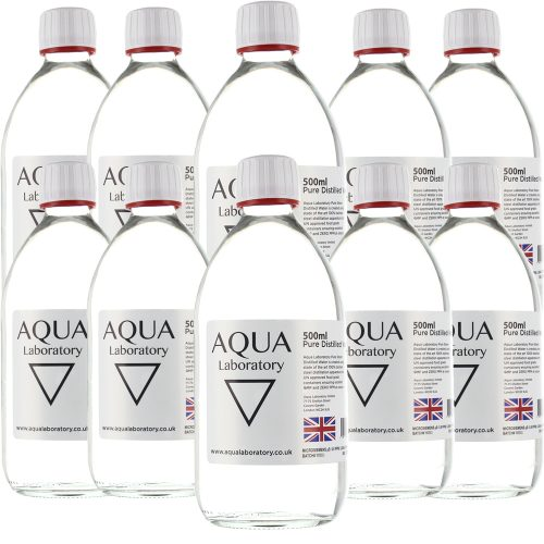 AQUA LABORATORY Pure Steam Distilled Water (10X 500ml in GLASS BOTTLE WITH T/E CAP) - Pure Water