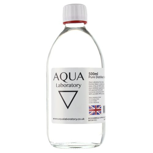 AQUA LABORATORY Pure Steam Distilled Water (1X 500ml in GLASS BOTTLE WITH T/E CAP)