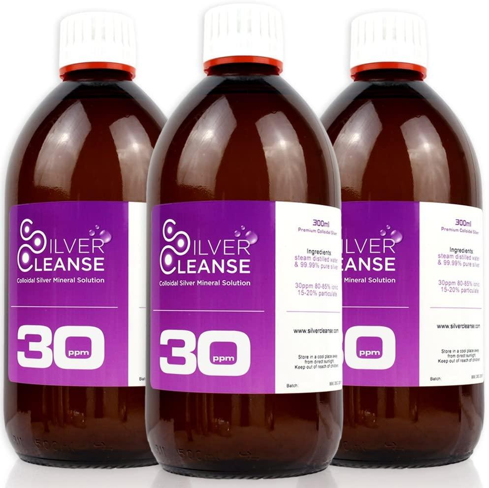 SilverCleanse Colloidal Silver 30ppm Triple Pack (3x 300ml Glass Bottles & T/E Cap)