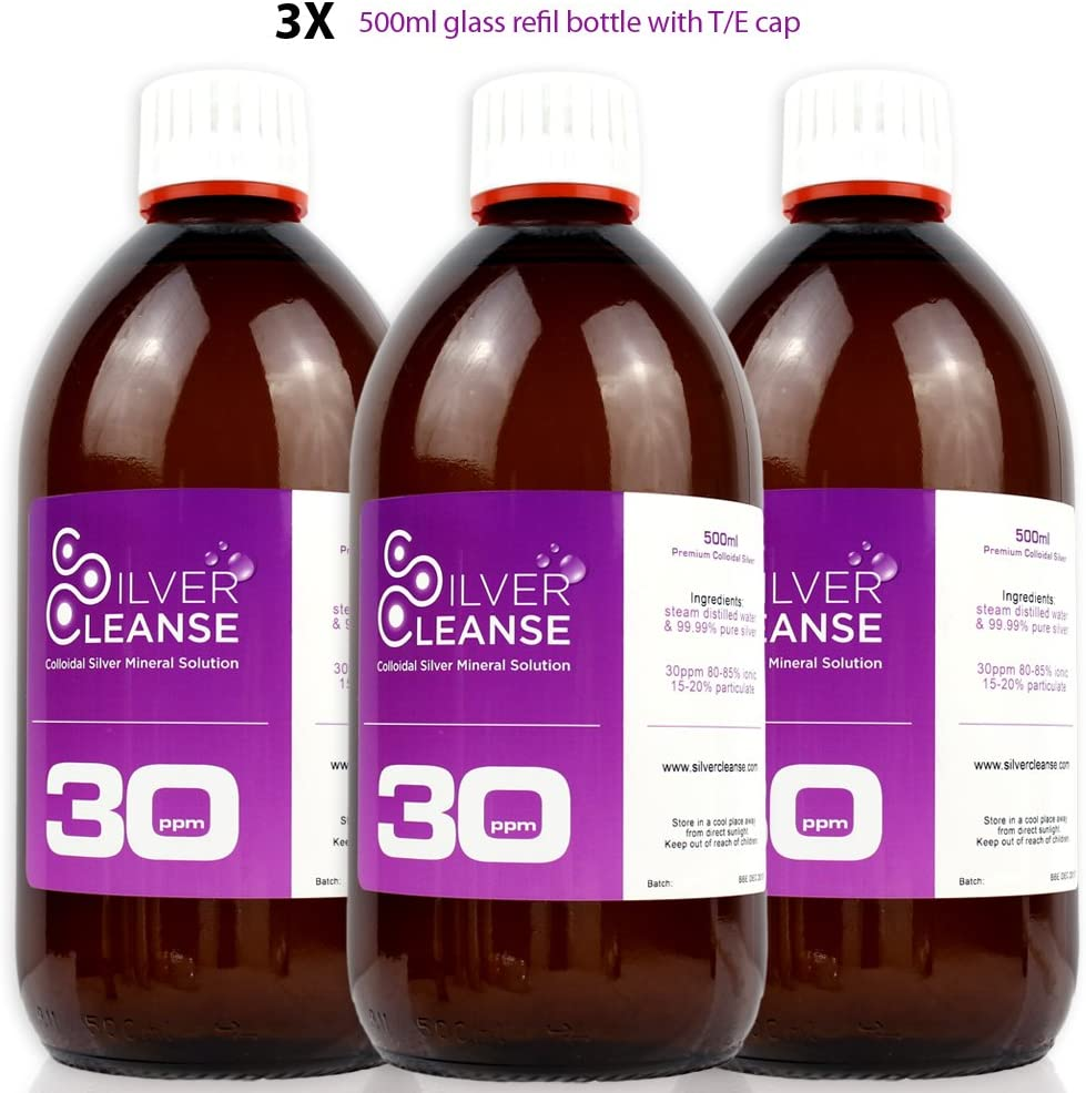 SilverCleanse Colloidal Silver 30ppm Triple Pack (3x 500ml Glass Bottles & T/E Cap)