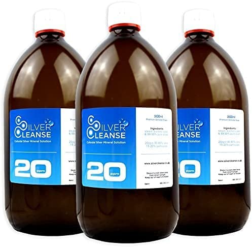 Silvercleanse colloidal Silver 3 x 300ml 20ppm. Exceptional Quality. Backed by 25 Years of Experience. Made in The UK