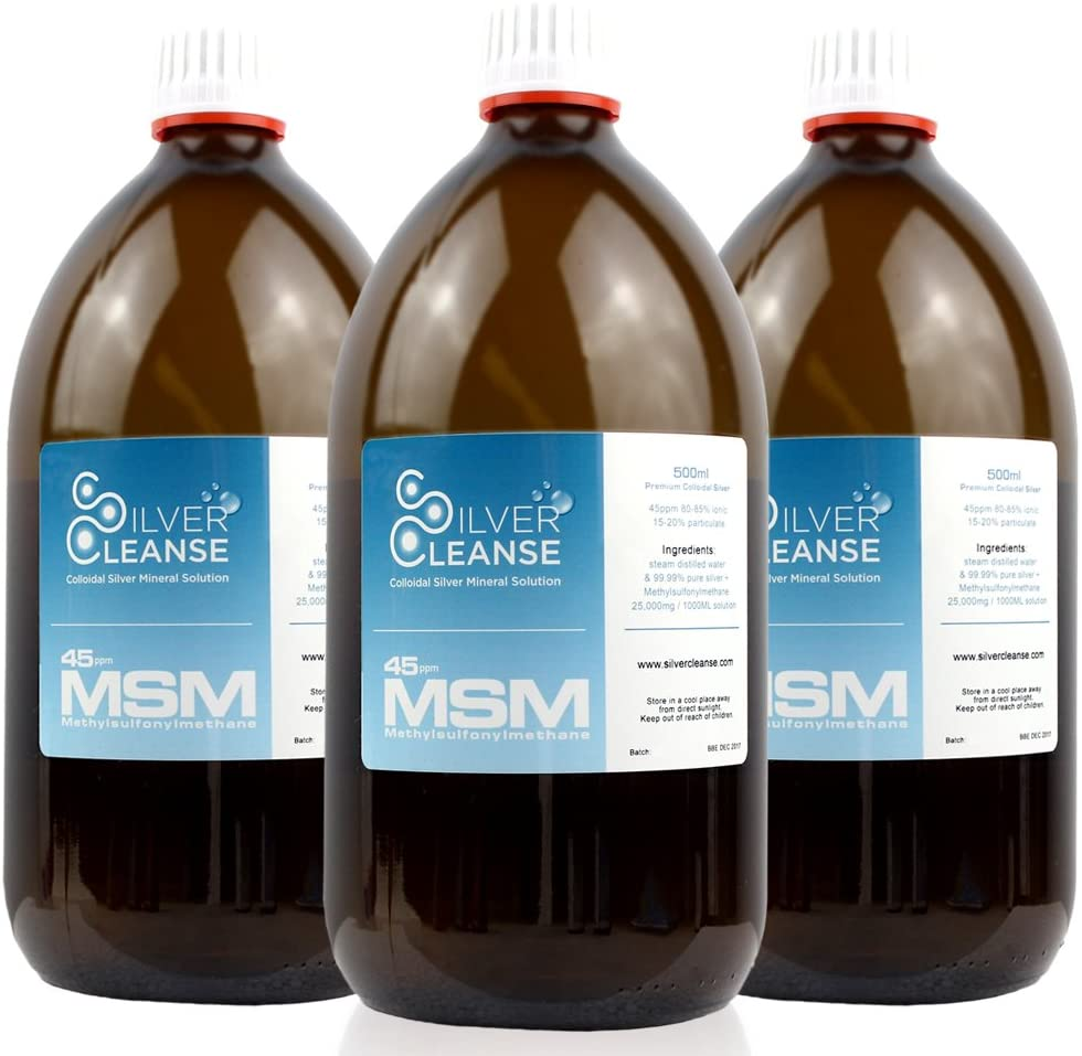500ml SilverCleanse 45ppm + MSM (Methyl-Sulfonyl-Methane) Triple Pack Deal!