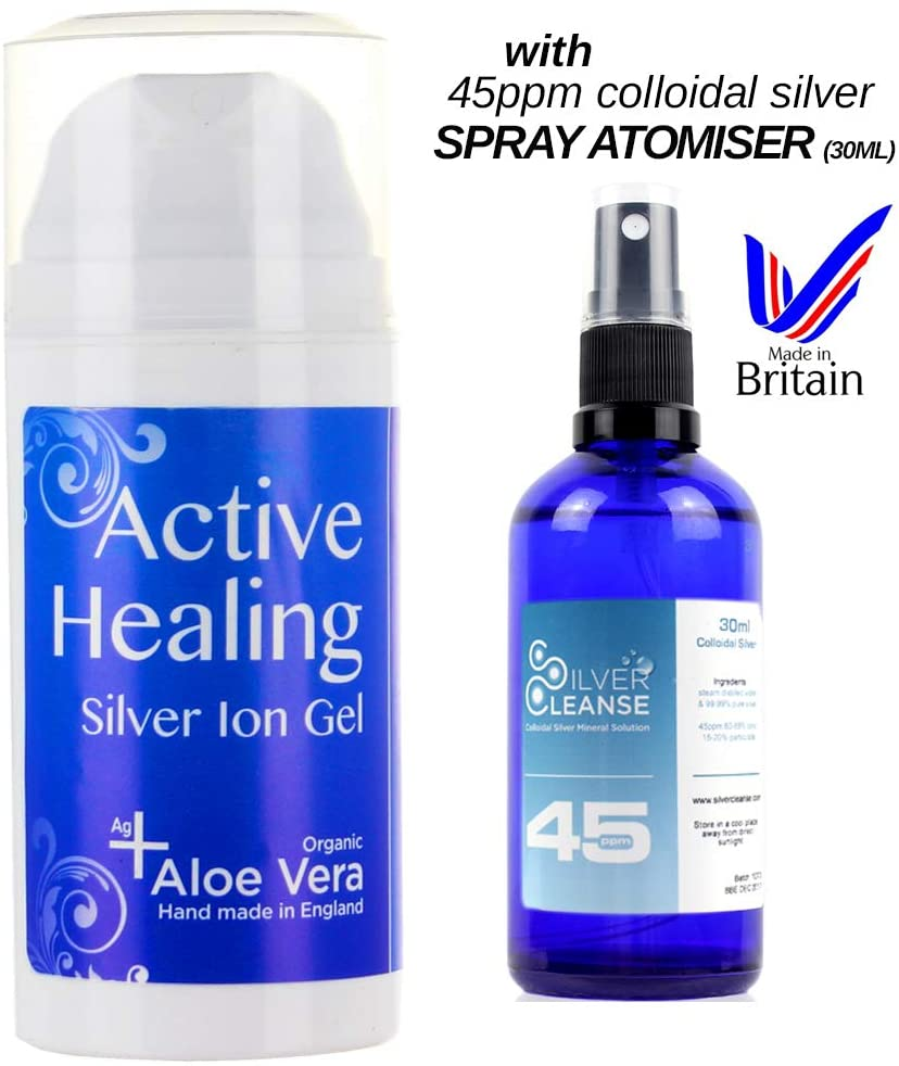 SilverCleanse Silver Ion Gel (Colloidal Silver Gel) with Soothing Aloe Vera (Colloidal Silver Gel + 45ppm Spray Atomiser)